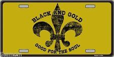 Fleur De Lis Gold & Black Good For The Soul License Plate Tag