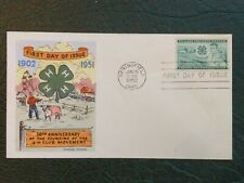1952 FLUEGEL FIRST DAY COVER ISSUE 50TH ANNIVERSARY FOUNDING 4-H CLUB CACHET FDC
