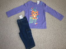 NWT THE CHILDRENS PLACE OUTFIT SIZE 24 MONTHS PURPLE / BLUE DENIM