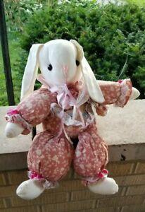 Vintage Bunny Rabbit Plush Fabric Stuffed Animals 1988 Tender Heart