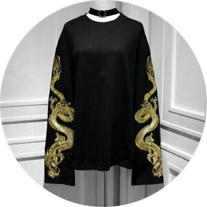 Punk Long Sleeve Dragon Embroidery T-shirt Gothic Loose Wei clothing Tops