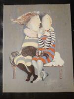 Original GRACIELA RODO BOULANGER Hand Signed Etreindre Des Couples Sisters & Cat