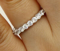 1.50 Ct 14K Real White Gold Round Eternity Endless Wedding Anniversary Ring Band