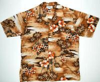 Vintage Hukilau Fashions Hawaiian Shirt L/XL 70s Orange Kurt Cobain Aloha Grunge