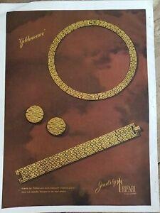 1947 trifari golden wave gold necklace bracelet earrings vintage jewelry ad
