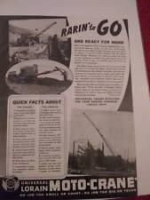 Vintage 1941 Thew Lorain Moto Crane Ad, Advertisement: Universal Crane Div.