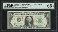 "FR1908-Gs $1 1974 FRN CHICAGO ""SPECIMEN"" LADDER S/N 0001 PMG 65 EPQ WLM4673"