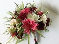 bridal bouquet dahlias roses berries burgundy blush white raspberry pink