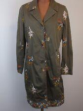 LIGHT BLUE Womens Embroidered Art to Wear Floral Olive Khaki Jacket Coat Large