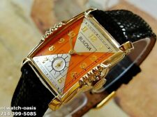 1954 Vintage BULOVA President 21 Jewels, Stunning Silver& Orange Dial, Serviced