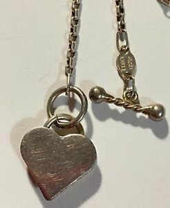 """ITALY 925 Sterling Silver Vintage Heart Pendant Chain Necklace 17"""" 9.7g #S294"""