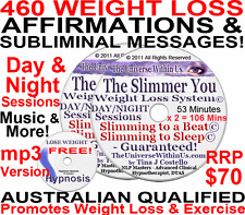 WEIGHT LOSS AFFIRMATIONS & SUBLIMINAL MSG SET HYPNOSIS MP3 WEIGHTLOSS on CD Plus