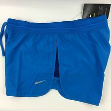 NIKE Womens Sz XL Tempo Dri Fit Track Running Training Shorts Blue With Lining