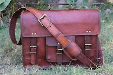 Genuine Vintage Brown Leather Messenger Bag Shoulder Laptop Bag Briefcase