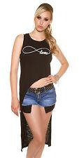Sexy Longtop Longshirt Top T-Shirt Shirt infinite love Schwarz high low 34 36 38