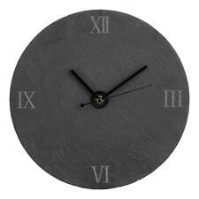 Premier Housewares Wall Clock, Round Grey Textured Slate, Black Hands