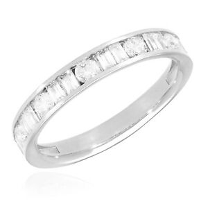 1CTW Round Baguette Simulated Diamond 14K White Gold Wedding Band Ring