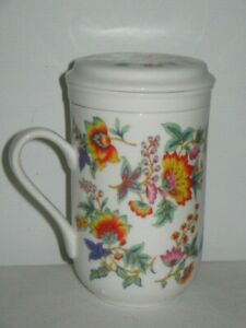 Bright Colourful Cup Mug With Tea Strainer & Lid 12.3cm High 7.5cm Across Top