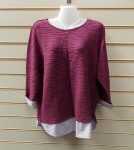 Sheego Ladies Jumper Sweater Size 14/16 2 In 1 Detail  Deep Pink G026