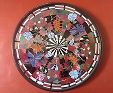 """Stained Glass Mosaic HUGE """"Bulls eye"""" Colorful Iridescent Flowers wall art rare"""