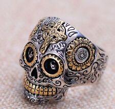 925 Sterling Silver men's Biker skull CROSS ring Rings jewelry P112   US size 9