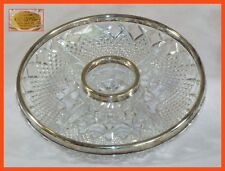 """Vintage 24% PbO Lead Crystal Appetizer Tray - 11"""" - w/Silver Plated Rim - W Ger."""
