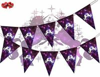 Unicorn Galaxy Space With Stars and Planets  Bunting Banner 15 Flags Birthday