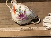"Antique Porcelain Dresden Cup w/Double Handles Multi Floral 4 1/2""x3 1/8"" Marked"