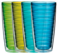 Plastic Tumblers Double Wall Insulation 24 Oz Warm Or Cold Beverages 4 Piece Set