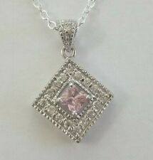 """Pink Topaz and Cubic Zirconia Square Necklace set on Sterling Silver 18"""""""