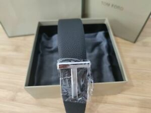 TOM FORD BLACK/Brown T Icon Belt Size 85 / 34 (100% Authentic & New)