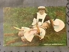 Postcard - Vintage Two Children Playing Knights & Nurses (P19534)