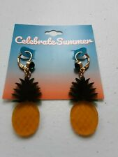 Celebrate Summer Collectible Earrings  Pineapples. Green Rhinestone