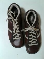 Skechers Womens Rock Brown Leather Split Sole Sneakers Size 6