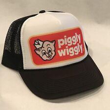 Piggly Wiggly Trucker Hat Pig Hog Bacon Logo Vintage Black Snapback Mesh Cap