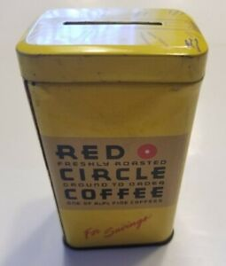 Vintage Red Circle Coffee Tin Savings Bank Advertisement Coffee & Bank
