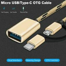 Nylon Braid Male to Female OTG Cable 2 in 1 Adapter USB USB/Type-C to Micro G9M1