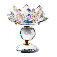 Buddhist Crystal Crafts Lotus Tea Light Candle Holder Candlestick Multicolor