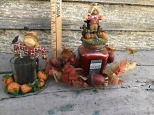 Fall Halloween Candleholders W/ Cinnamon Pumpkin Candle Pair Home Interiors New