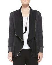 SZ 2X Eileen Fisher Charcoal Plaited Organic Cotton Asymmetrical Cardigan $378