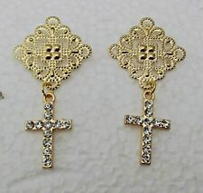 Filigree Handmade Hypoallergenic Wire Dangle Rhinestone Cross on Gold Metallic