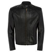 Men Genuine Black Biker Leather Jacket - Mens Real Lambskin Vintage Cafe Racer