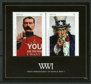 Nevis 2014 MNH WWI WW1 World War I 100th Anniv Posters 2v S/S I Military Stamps