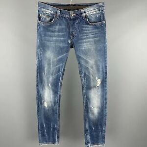JUST CAVALLI Size 31 Indigo Distressed Denim Button Fly Low Rise Jeans