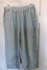 FLAX Jeanne Engelhart Blue Linen Wide Leg Cropped Capri Pants Floods Lagenlook M
