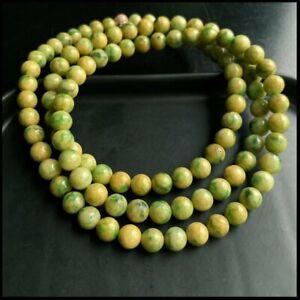 【KOOJADE】Emerald Yellow With Green Jadeite Beads necklace《108》《GradeA》