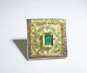 14 KT Yellow Gold Emerald Tie Tack From Cartagena Colombia