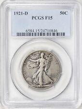 1921 D Walking Liberty Silver Half Dollar PCGS F-15