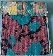 Indian quilt vintage craft handmade 100% cotton bedding reversible bedspread