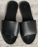 Madewell Black Leather Slip On Sandals Sz 9 Boardwalk Post Slides #C9